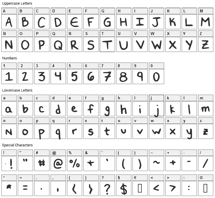 Double N Font Character Map