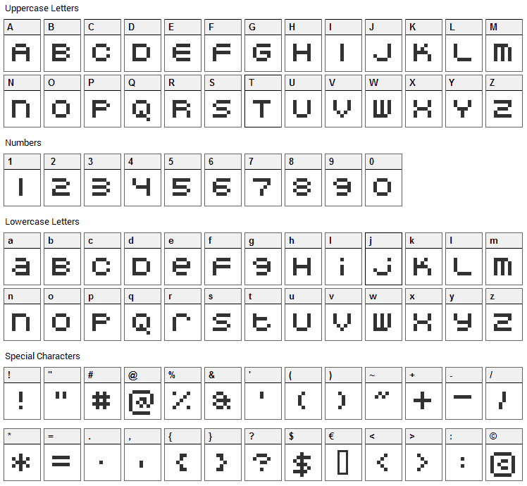 DoubleOhOne Font Character Map