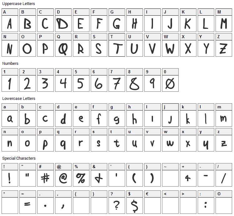 Douglas Hand Font Character Map