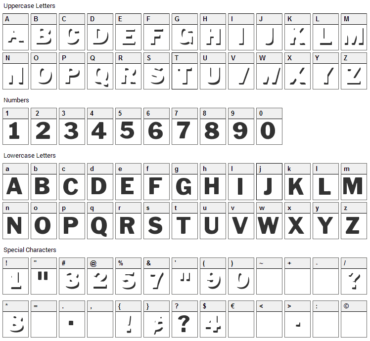 Down Town Auto Font Character Map