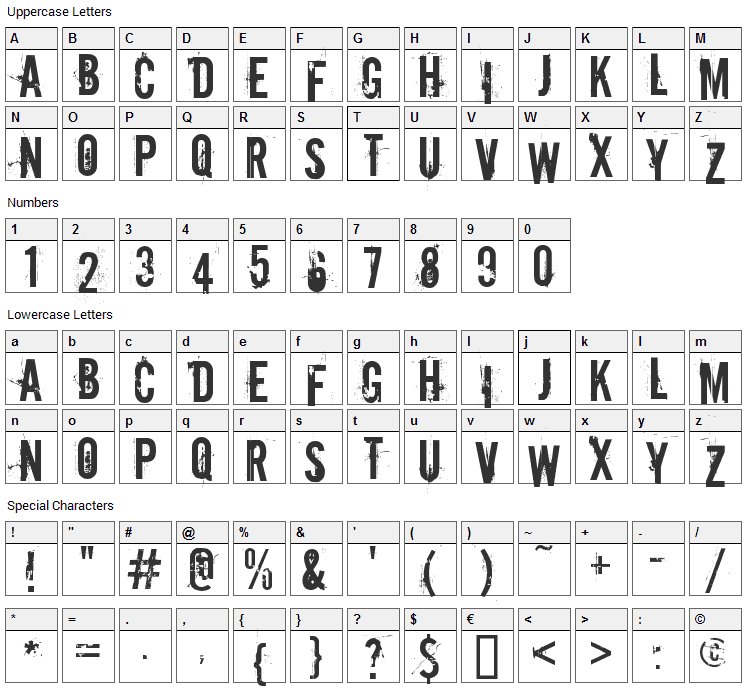 Downcome Font Character Map
