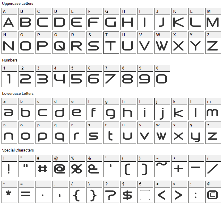 Downlink Font Character Map