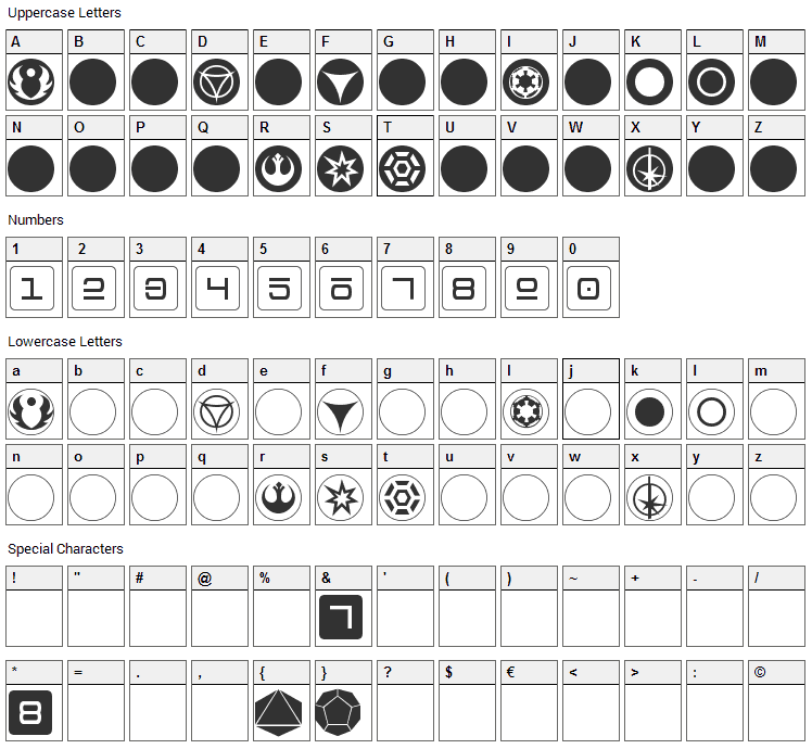 dPoly Imperial Font Character Map