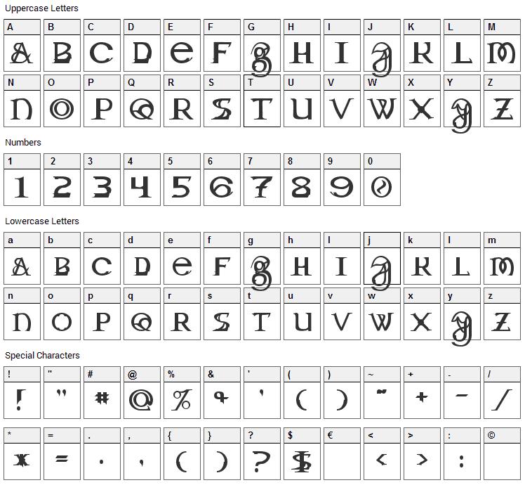 Dragon Master Font Character Map