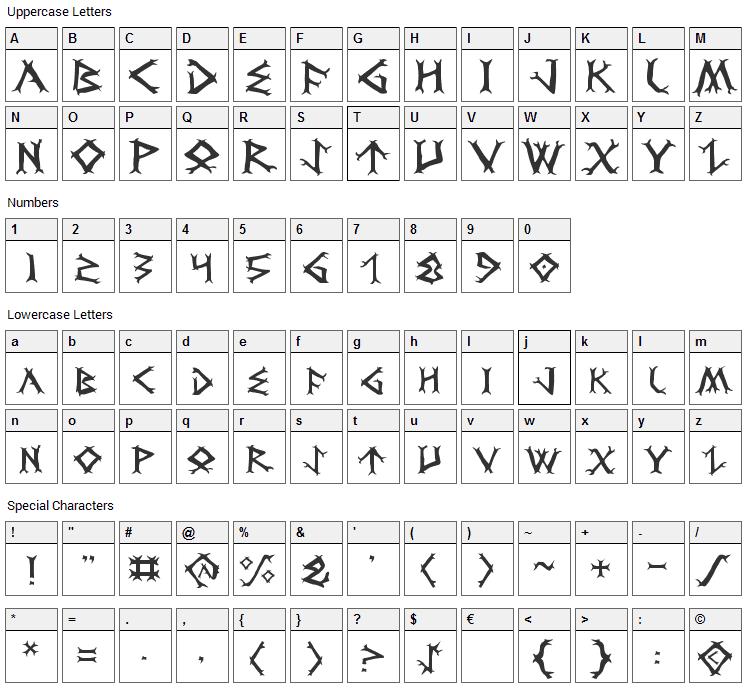 Dragon Order Font Character Map