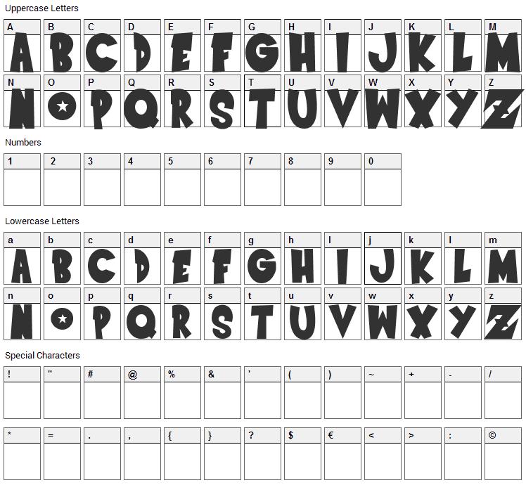 Dragonball Z Font Character Map