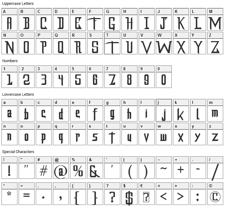 DragonForce Font Character Map