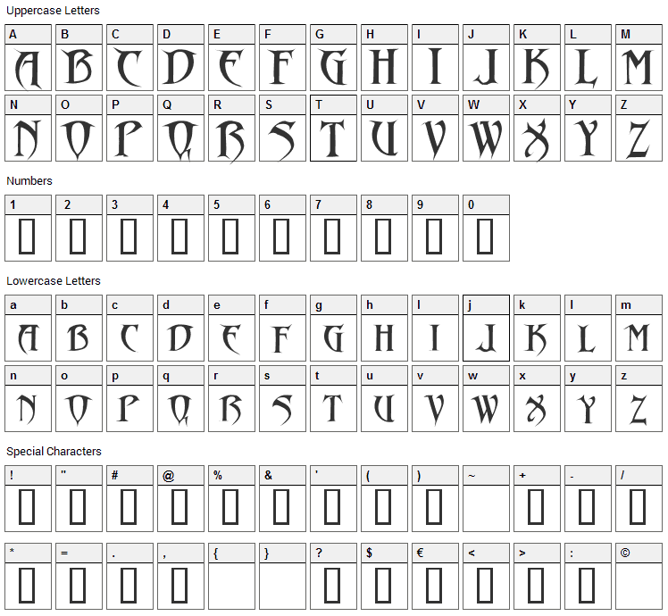 Drakon Font Character Map