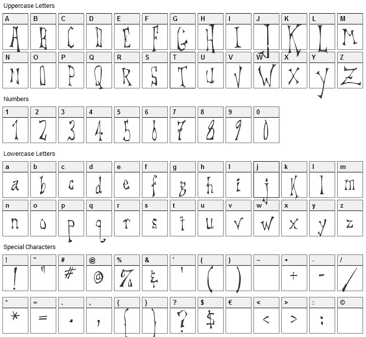 DreadLox Font Character Map