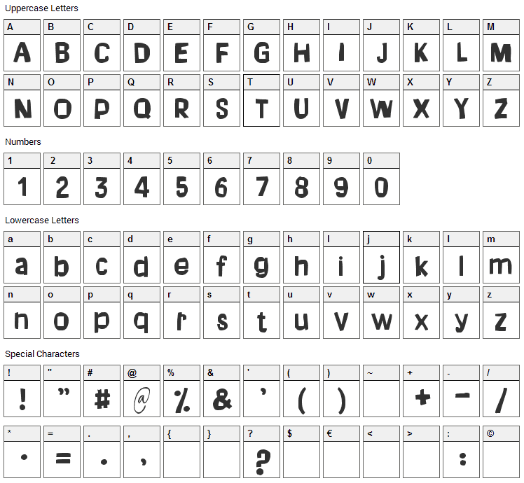 Dream of me Font Character Map