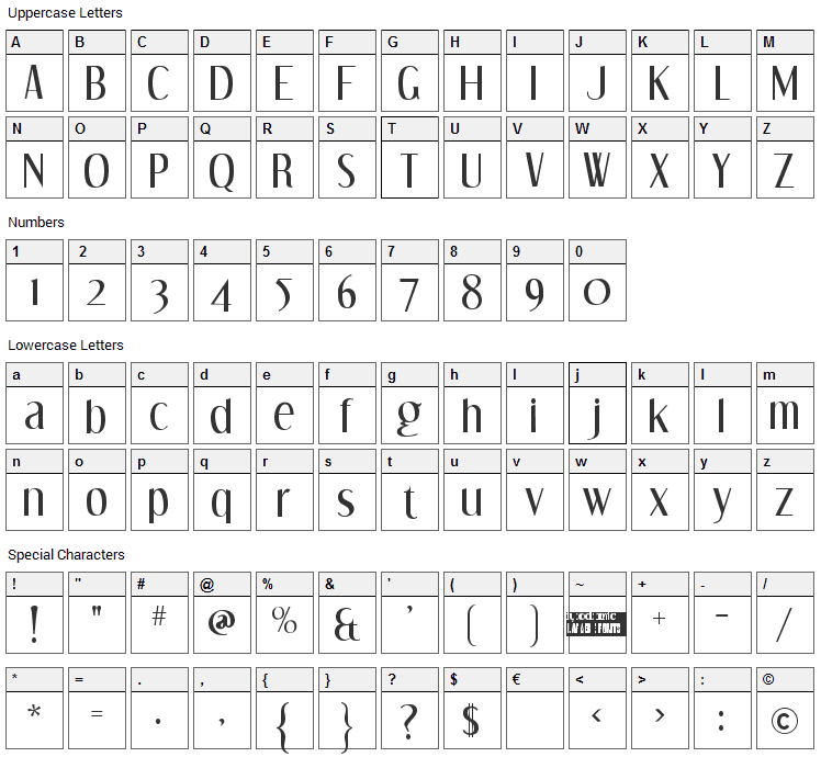 Dream Orphans Font Character Map