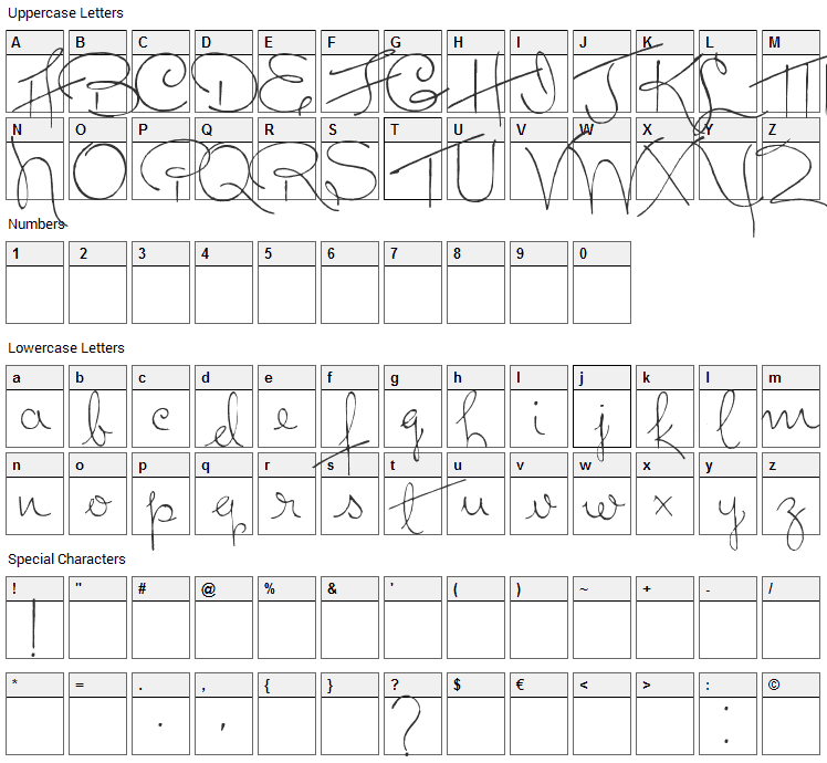 Dreamer Font Character Map