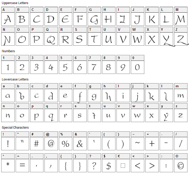 DreamerOne Font Character Map