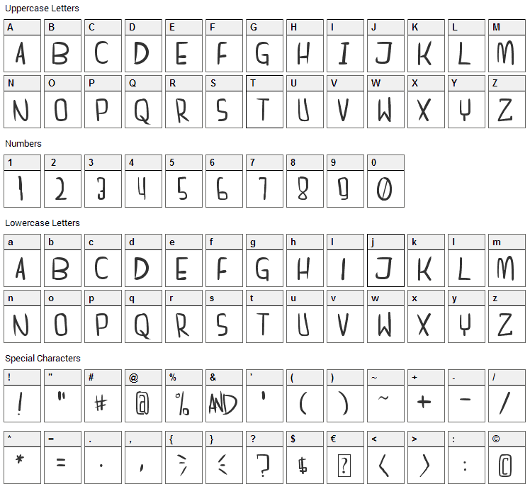 Dreamgirl's Dream Font Character Map
