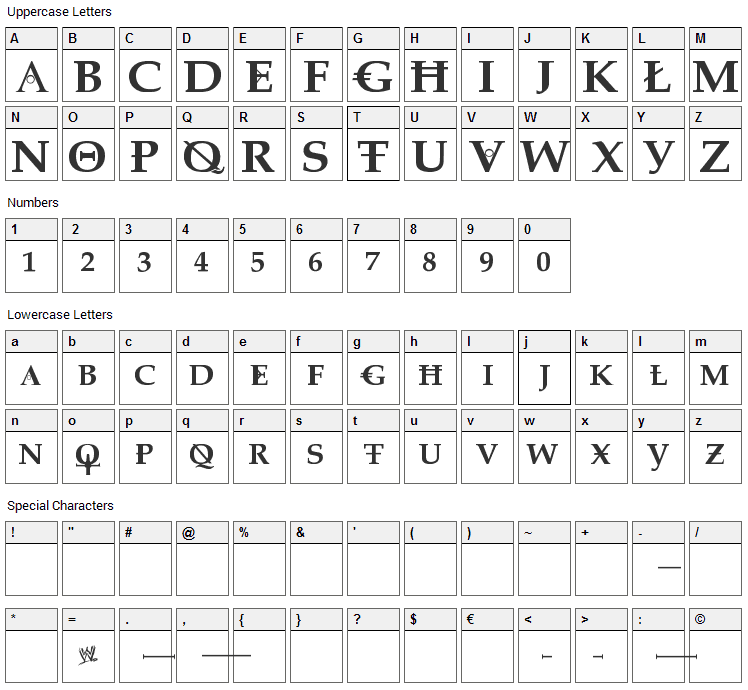 Dreaming of Lilian Font Character Map