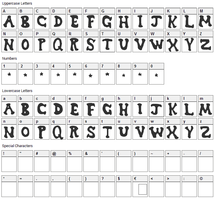 Dreamwish Font Character Map