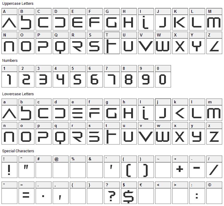Dredwerkz Font Character Map