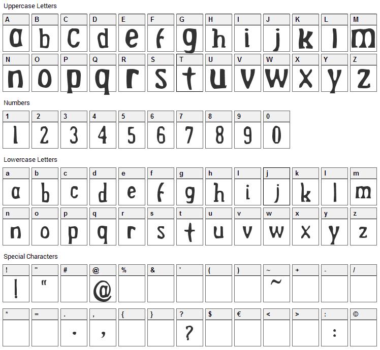 Drek Font Character Map