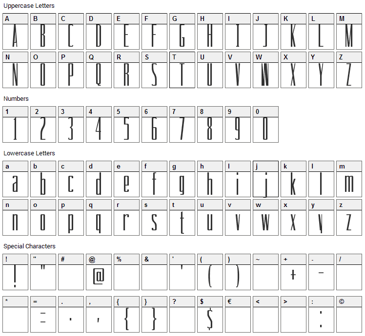 Drinking Font Character Map