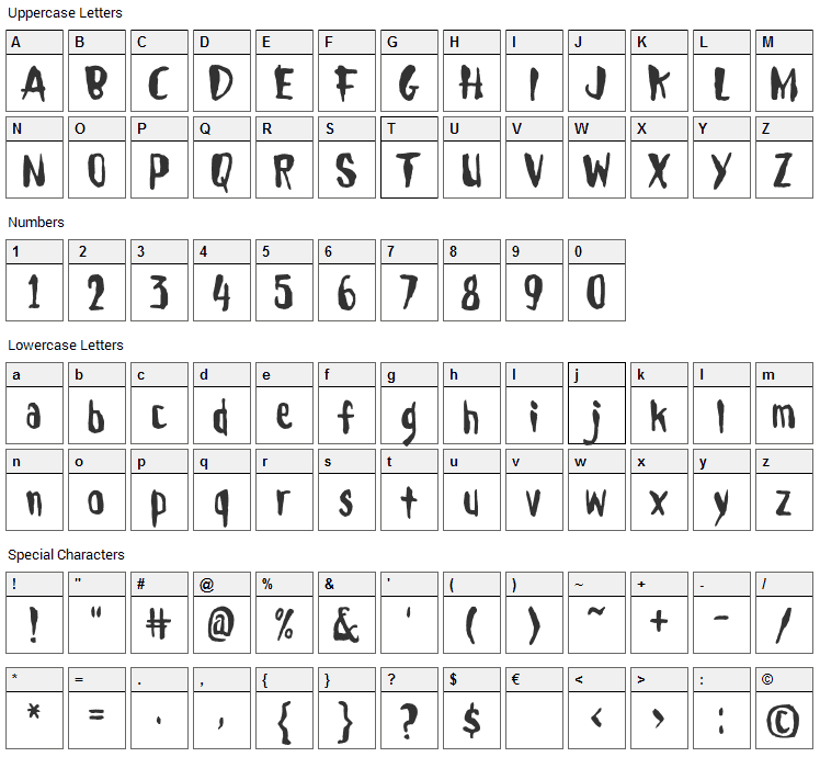 Droeming Font Character Map