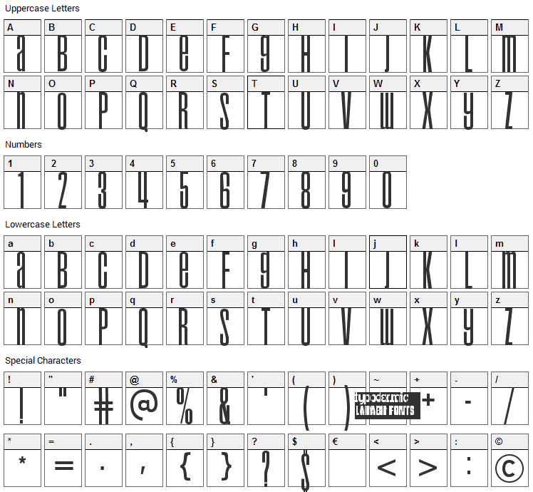 Droid Font Character Map