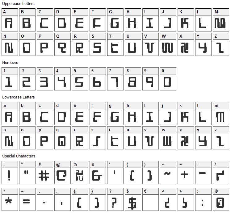 Droid Lover Font Character Map