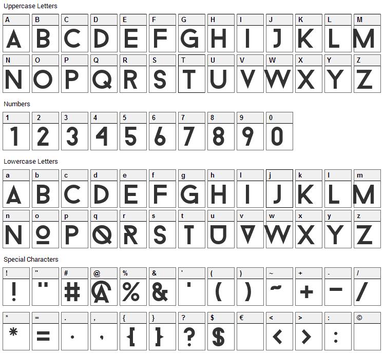 Droidiga Font Character Map