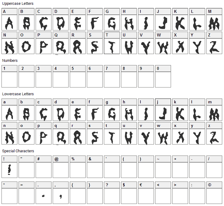 Droopy Poopy Font Character Map