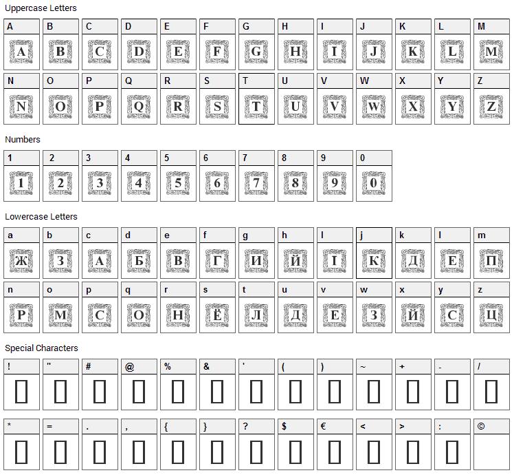 DS Initials Font Character Map