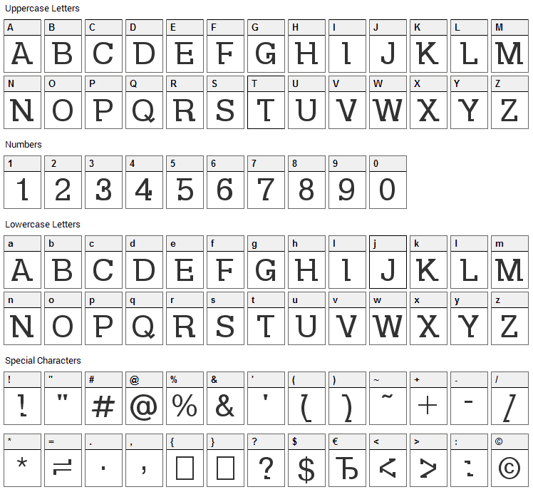 DS Kolovrat Font Character Map