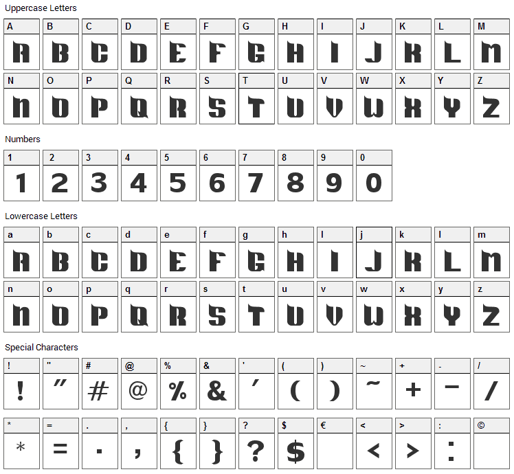 DS Metropolis Font Character Map