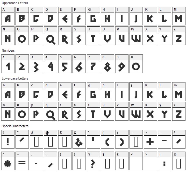 DS Nova Black Font Character Map