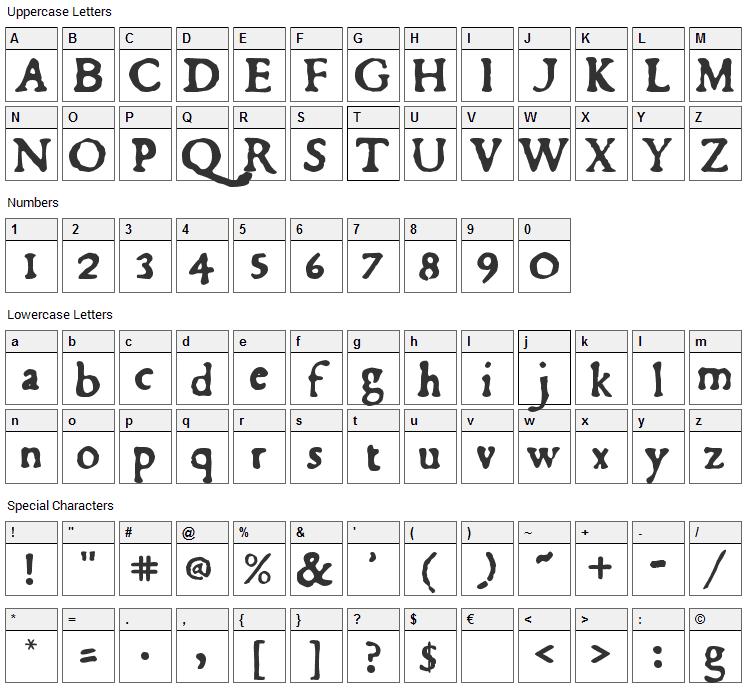 Du Bellay Font Character Map