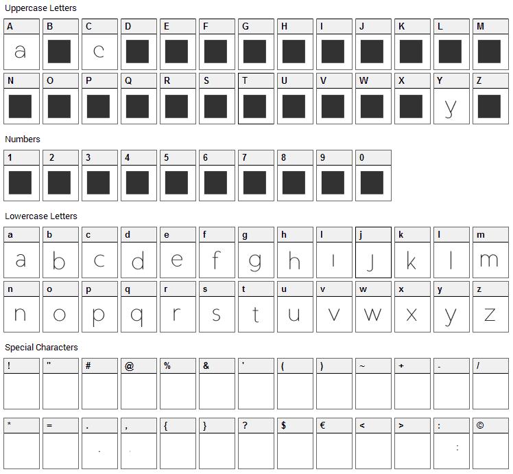 Duase Light Display Font Character Map