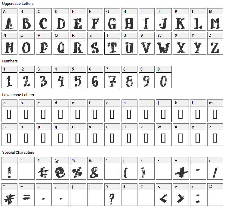 dUBBEL Font Character Map