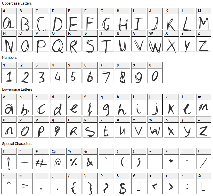 Dubble Font Character Map