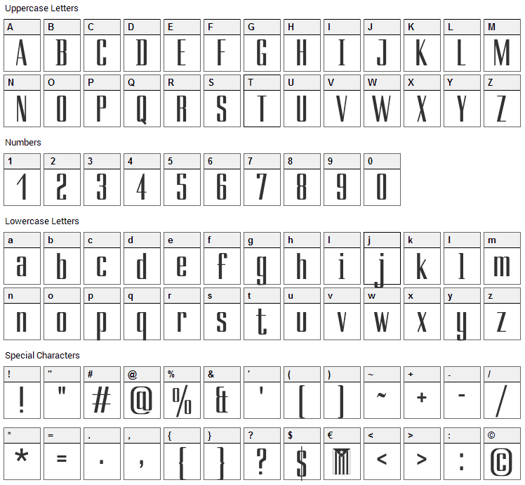 Ducados Font Character Map