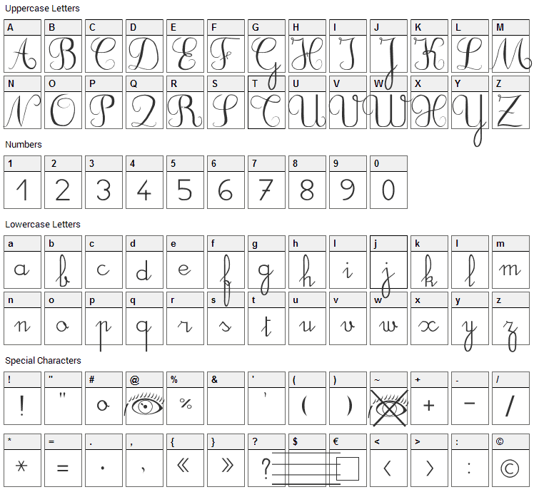 DuCahier Font Character Map