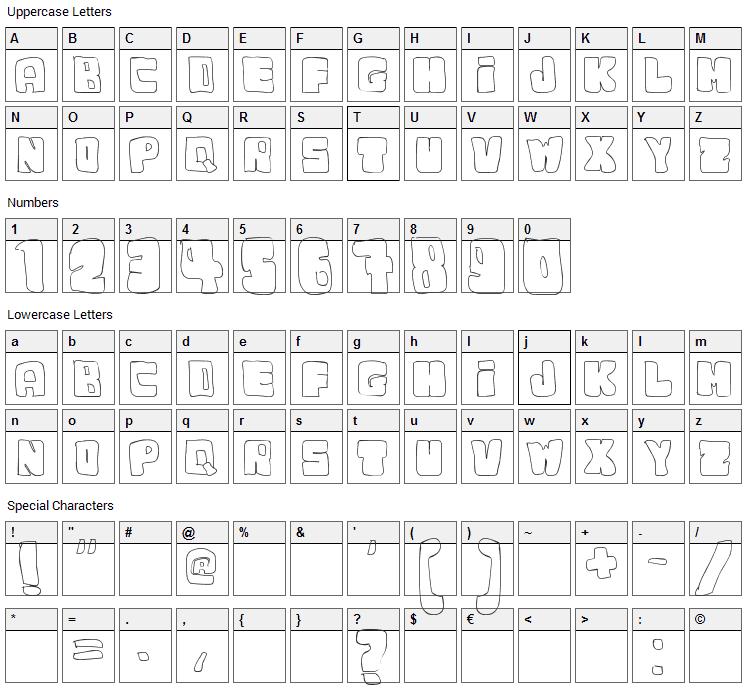 Dudu Font Character Map