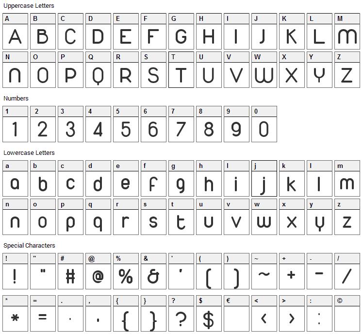 Duepuntozero Font Character Map