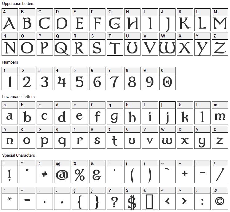 Dumbledor Font Character Map