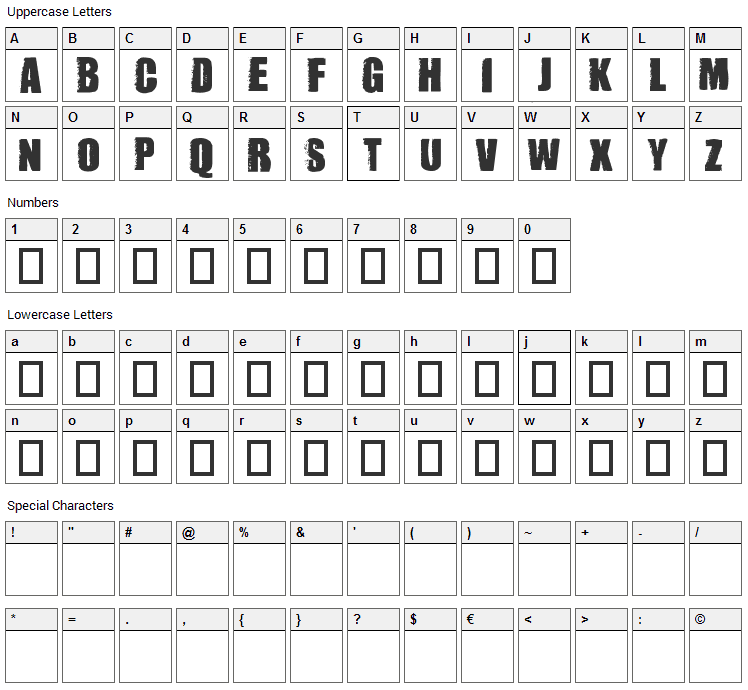 Dummy Font Character Map