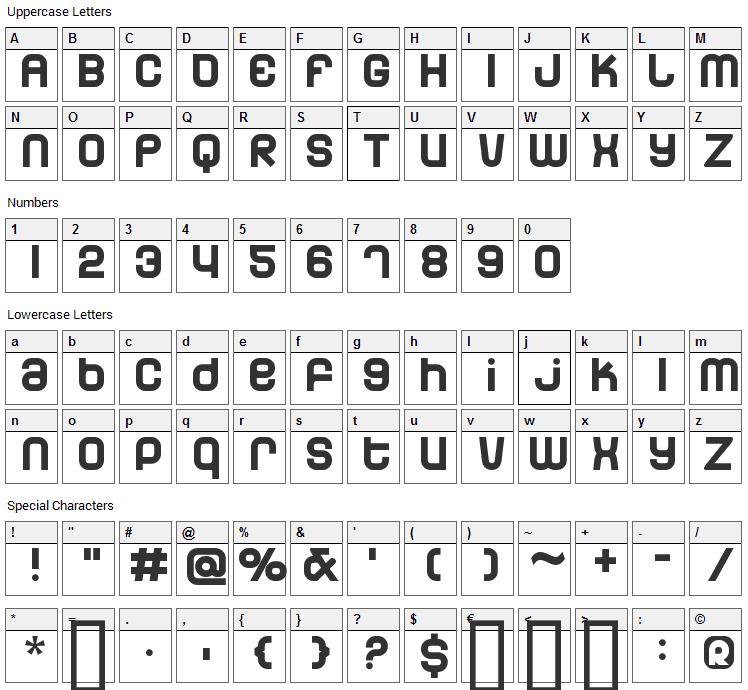 Dunebug Font Character Map