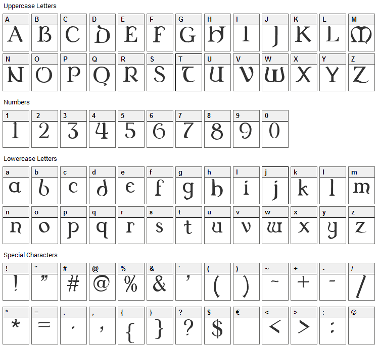 Dungeon SN Font Character Map
