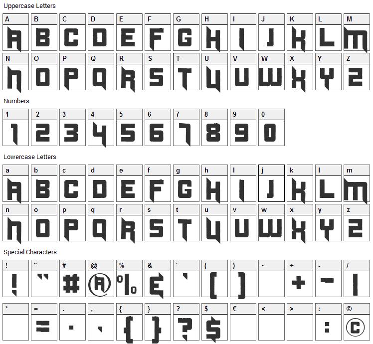 Duplexide Font Character Map