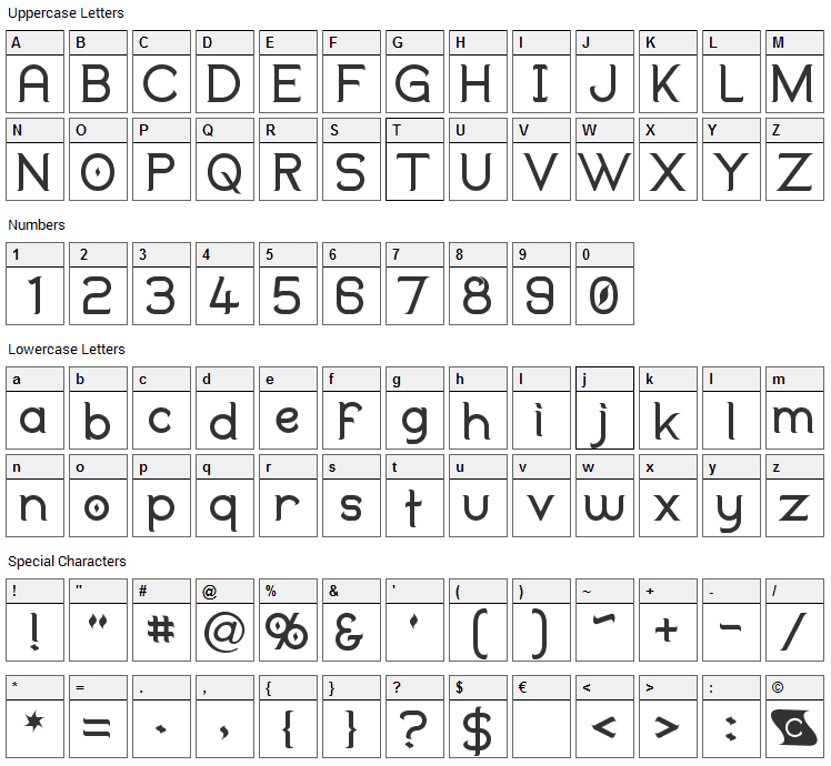 Duralith Font Character Map