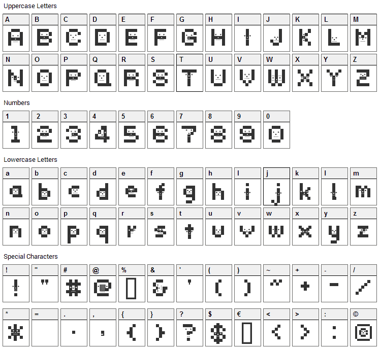 DustDotman Font Character Map