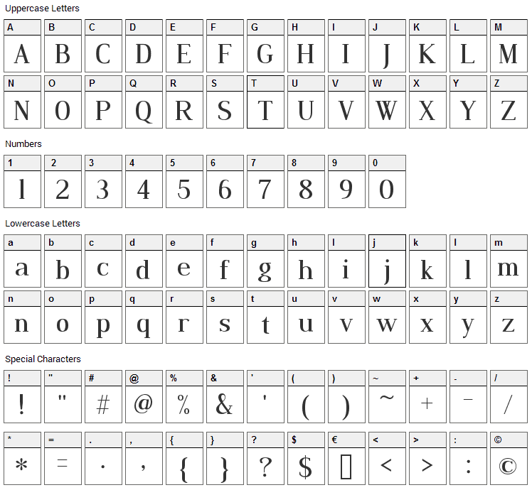 Dustismo Roman Font Character Map