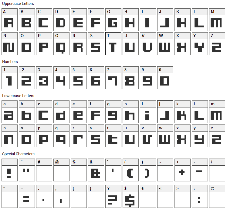 Dusty Font Character Map