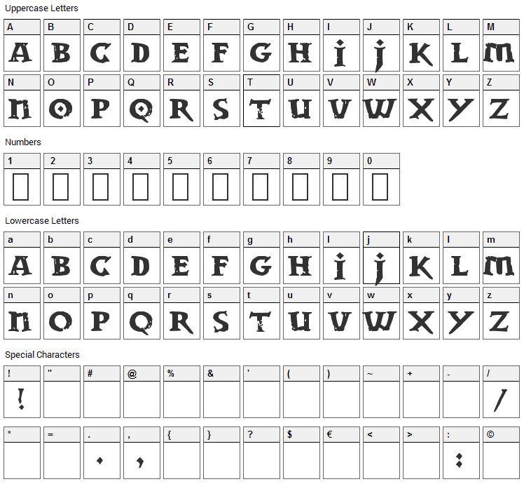Dwarven Stonecraft Font Character Map